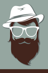 Vector illustrations -- male avatar, hipster look