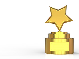 3d Rendered Gold Star Trophy