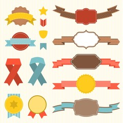 Vector ribbon and badges set 3