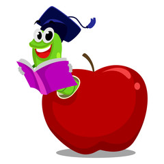 Illustration of Worm inside the Apple reading book wearing graduation hat