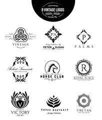 Luxury logo set,logo collection,boutique identity,real estate,property,royalty logo,hotel logo,crest logo,Victorian style logo,Vector Logo Template.