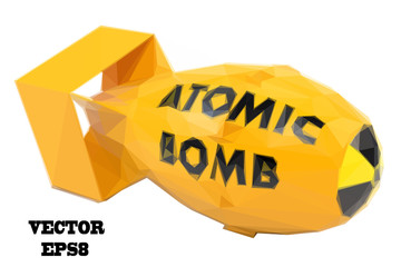 Stylized yellow atomic bomb on a white background. Vector illust