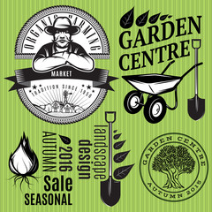 set of retro badges with farmer for gardening or organic farming