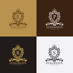 Luxury logo,boutique identity,real estate,property,royalty logo,hotel logo,crest logo,Victorian style logo,Vector Logo Template.