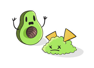 Shocked Avocado vector illustration