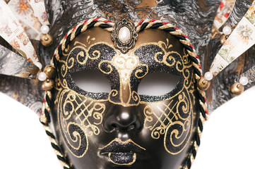 Venetian carnival mask theater isolated on white background
