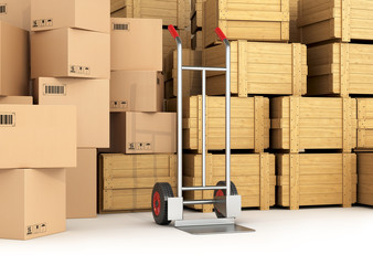 Wall Mural - Warehouse with wooden and cardboard boxes. Hand truck