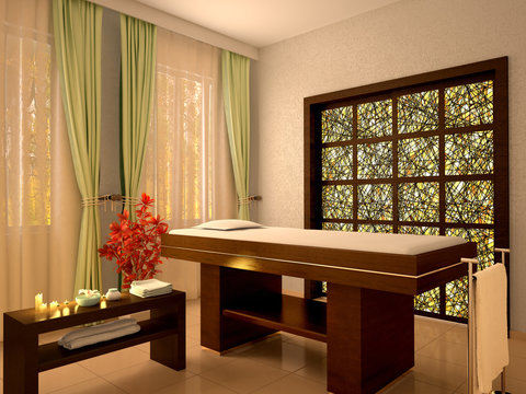 3d illustration of nice massage room in spa salon