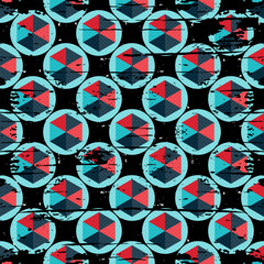 abstract colored polygons on a black background seamless pattern vector illustration