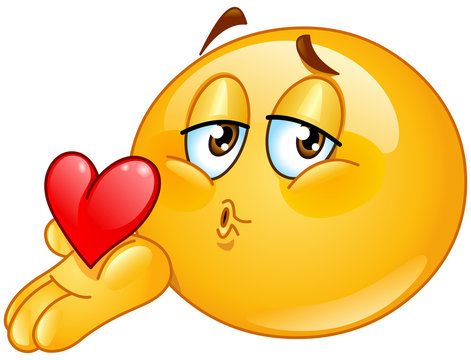 Blowing kiss male emoticon