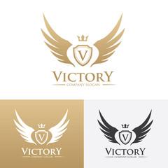 Victory logo,crest logo,v letter logo,Victorian logo,Vector logo template