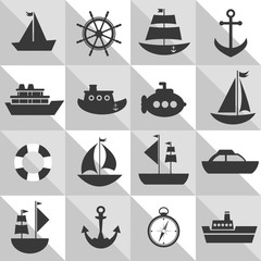 grey and white background with sea transport