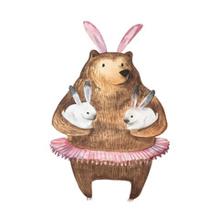 Cute bear and his little bunnies. Hand Drawn Watercolor illustration.