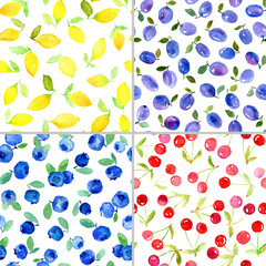 Set of four watercolor seamless pattern with fruits and berries.  Can be used for wrapping paper, background of birthday, mother's day and any holidays.