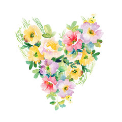 Heart of flowers. Watercolor illustration. Beautiful flowers. Also can be used for wedding design, Valentine's day, birthday, mother's day and so on.