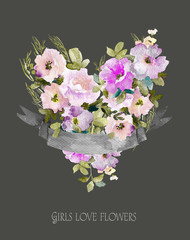 Heart of flowers. Watercolor illustration with ribbon for text.