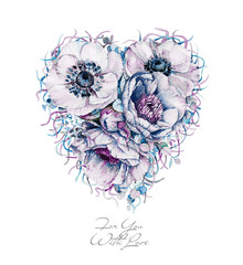 Heart of flowers. Watercolor illustration. Can be used for wedding design, Valentine's day, birthday, mother's day and so on.