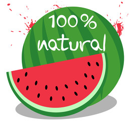Watermelon and 100 percent natural text, on white background.