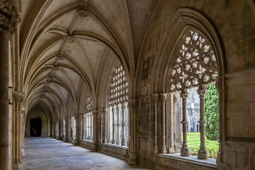 Batalha, Portugal - July, 2015: The Royal Cloister. Masterpiece of the Gothic and Manueline art. UNESCO World Heritage Site.