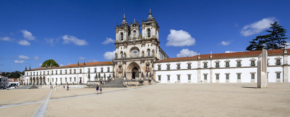 Alcobaca, Portugal - July, 2015: Alcobaca Monastery, a masterpiece of the Gothic architecture. Cistercian Religious Order. Unesco World Heritage. Portugal.