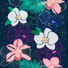 tropical pattern with pink and white orchids