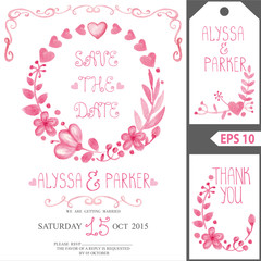 Wedding invitation card set.Watercolor pink floral  wreath