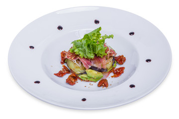 Salad with eggplant and avocado, isolated