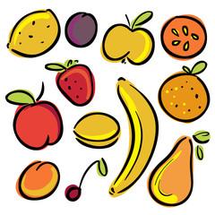 Set icons fruits