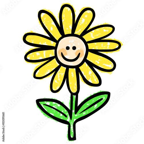Handgezeichnete, lächelnde Blume / schwarz-weiß, Vektor ...