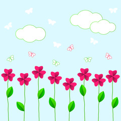 pink flowers with green leaves and butterflies on a blue background