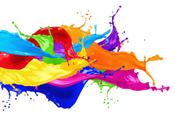 colorful wild color splash isolated on white background
