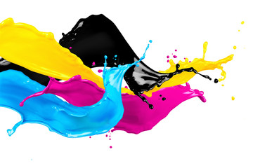 CMYK wild color splash isolated on white background