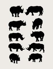 Rhinoceros Silhouettes, art vector design