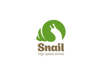 Snail Logo design vector Negative space Wild animal zoo Logotype