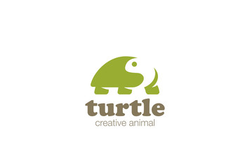 Turtle Logo design vector Negative space style Zoo Logotype icon