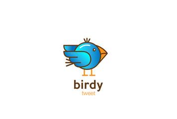 Funny Blue Bird Logo design vector cartoon linear style