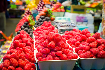 Fresh Raspberries on Display