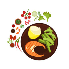 Salmon Grilled Steak on Plate. Vector Illustration