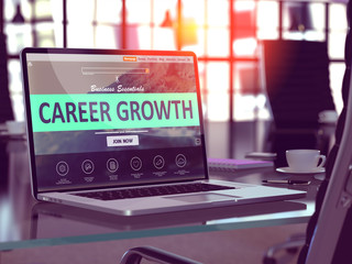 Career Growth Concept - Closeup on Laptop Screen in Modern Office Workplace. Toned Image with Selective Focus. 3D Render.