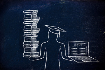 Graduate holding books and laptop with thesis draft