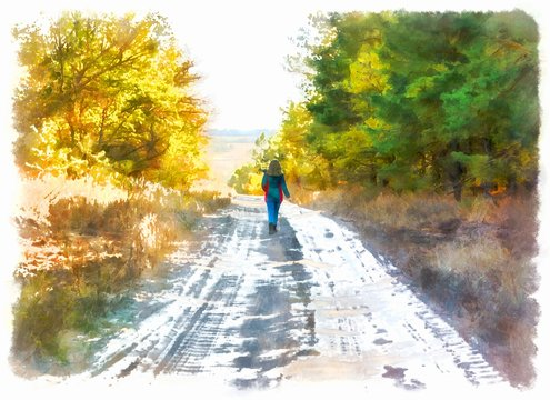 Watercolor oil illustration girl walking along the road through