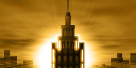 イラスト「高層ビルと夕日」