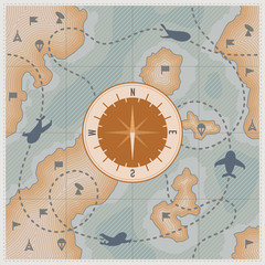 Compass on old map with airplanes and signs. Military vintage map with relief. Route of plane. Illustration. Vector.