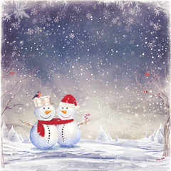 illustration of snowman celebrating Christmas