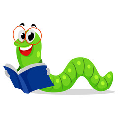 Illustration of Worm Reading Book