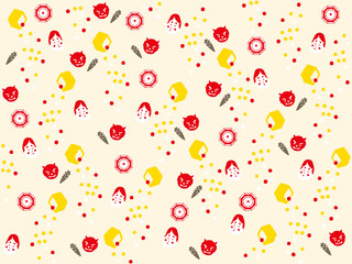 Japanese wallpaper. Setsubun:Japanese traditional event on February 3. People throw soy-beans at devil.