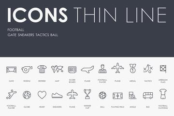 football Thin Line Icons