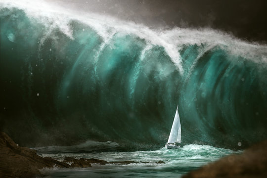 Sailboat in front of a tsunami
