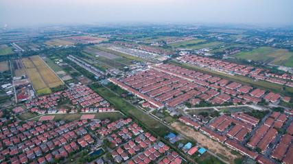 aerial view of home village in thailand use for land development