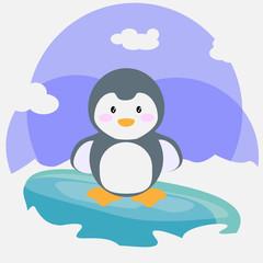 Bébé pingouin sur son iceberg